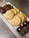 Sample of her baked goods Apple Hand Pies, Chocolate covered Strawberries, orange and chai truffles