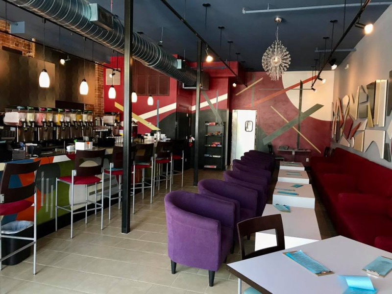The upstairs lounge is where you can see and be seen from the large picture window