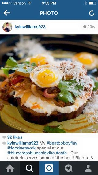 Beat Bobby Flay Competition Dish - Brunch Bruschetta with ricotta (competition ingredient) chorizo, poblano tequila cream, onions and peppers and a quail egg on top