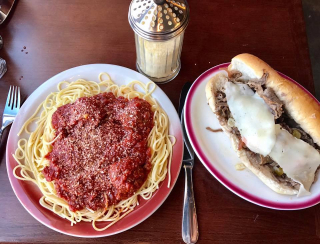 Spaghetti and Meatballs lunch special or Dipped Italian Beef Sandwich for lunch at Attitude