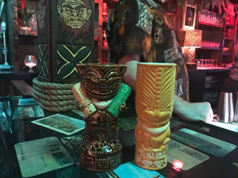 These are two of unique tiki mugs that were made for TikiCat. There will be 4 total each featuring a speciality drink